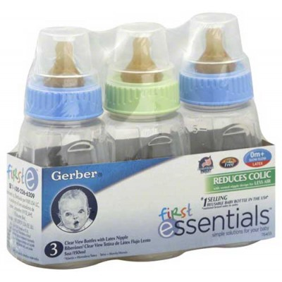 GERBER BABY BOTTLES 6 OZ Clear 3CT/PACK