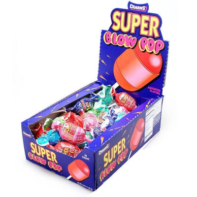 CHARMS SUPER BLOW POP Blue Candy 48CT/PACK