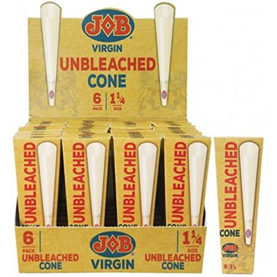 JOB CONE 1 1/4 VIRGIN UNBLEACHED 6/PACK (32PACKS/ DISPLAY)
