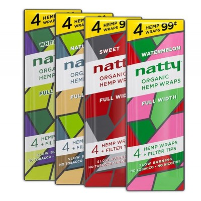 NATTY HEMP WRAPS FULL WIDTH 4PK (FILTER TIPS INCLUDED) 15CT/ PACK  (PRE-PRICED)