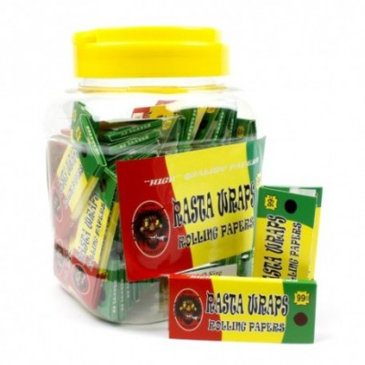 Rasta Wraps Rolling cigarette Papers jar 50CT/PACK