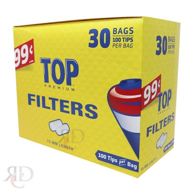 TOP FILTER TIPS 100CT/BAG 15MM  30CT/PACK