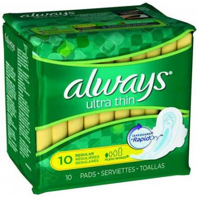 Always Ultra Thin Regular Pads With Wings, Unscented (Pack of 10)