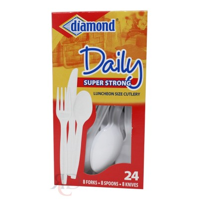 PLASTIC DIAMOND CUTLERY KNIFE SPOON FORK MIX 24CT/PACK