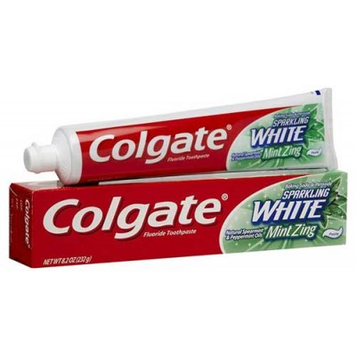 Colgate Sparkling White Toothpaste, Fluoride, Mint Zing, Gel - 8.2 oz (Pack of 6)