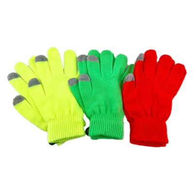 WINTER TEXT FINGER GLOVES NEON 1CT
