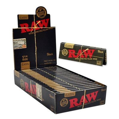 Raw Black Classic 1 1/4  24CT/PACK