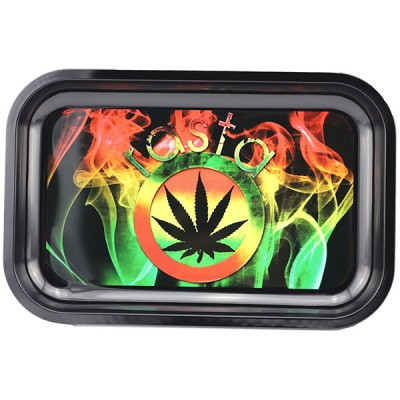 METAL TOBACCO TRAY LARGE - SMOKEY RASTA LEAF
