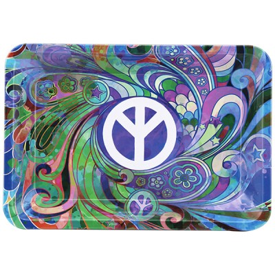 METAL TOBACCO TRAY LARGE-PEACE 1CT