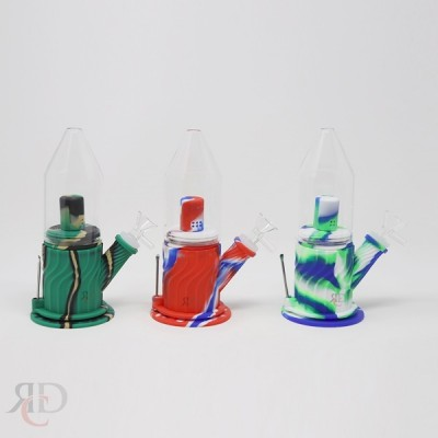 SILICONE GLASS PEAK WATER PIPE WITH SINGLE PERC & DABBER WPS171 1CT